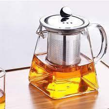 350 750ml heat resistant clear glass teapot with infuser flower green tea pot 2 2 sur 12