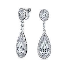 bling jewelry cz teadrop bridal chandelier earrings back clip on
