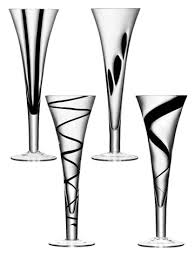 unique champagne flutes. These Glasses Are Not Entirely Black, But They Have Some Black Insertions And A Very Unusual Unique Design. Made Of Glass Only Decorated Champagne Flutes