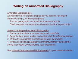 researching your topic the project binder use a three ring binder writing an annotated bibliography annotated bibliographies a simple format for exploring topics as you become an