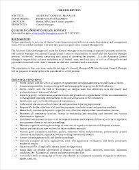 assistant general manager job description real estate property manager job description