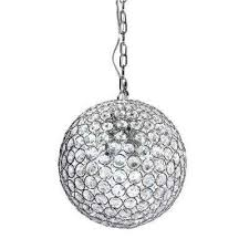 1 light chrome and crystal pendant