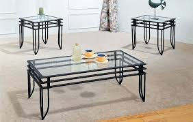 three piece coffee table set contemporary living room with metal black glass coffee table set 3