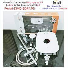 Máy nước nóng Ferroli Divo SDP4.5S có bơm màn hình LED hiển thị nhiệt độ,  Bình nước nóng trực tiếp Ferroli khuyến mãi chính hãng 2,892,000đ