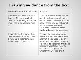the giver in class writing assessment through the various  drawing evidence from the text evidence quote or paraphrase analysis you know that there s