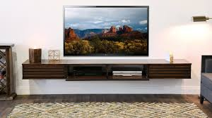luxury floating wall mount tv stand woodwafe entertainment center t v lotus russet brown 3 piece mounted