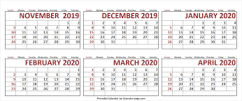 April 2020 Template 6 Month November 2019 To April 2020 Calendar Template