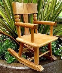 vintage 50s mid century strombecker doll house wood rocker rocking chair 7 high