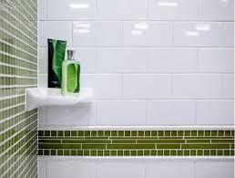 Porcelain shower shelf Ceramic White Subway Wall Tile And Green Glass Mosaic Tile Daniels Kitchen And Bath Porcelain Bathroom Fixtures The Tile Shop