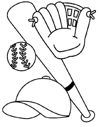 Small Picture Bat Glove Hat and Baseball Coloring Page Download Print