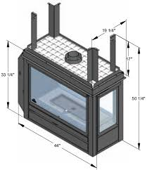 3 sided fireplace dimensions