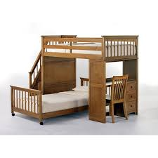 kids bed side view. NE Kids Schoolhouse Stair Loft Pecan Side View Bed S