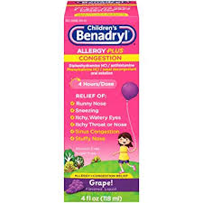 children s benadryl d allergy and sinus liquid 4 fluid ounce