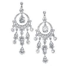 silver clear cz chandelier earrings