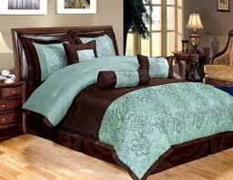 Turquoise And Brown Bedding | New 11 Piece Queen Bedding Aqua Blue Brown  Peony Comforter Set
