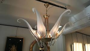 vintage iris leaves chandelier in murano glass brass by archimede seguso 9