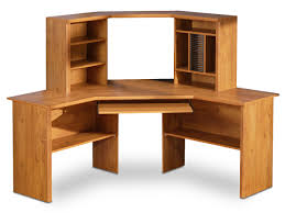 furniture curved light brown pine wood computer table with cd racks and shelving unit also keyboard