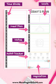 Daily Goals Template Printable Daily Schedule For Stay At Home Moms Free Planner