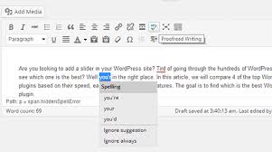 how to check grammar and spelling mistakes in wordpress proofreading wordpress posts in visual post editor