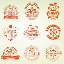 夏の休日のデザイン要素です流行に敏感なビンテージ ロゴタイプと