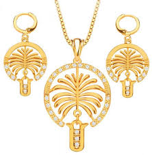 lanserm 18k gold jewelry pendant necklace earrings diamond plated gold fashion coconut tree jewelry sets for women souq uae