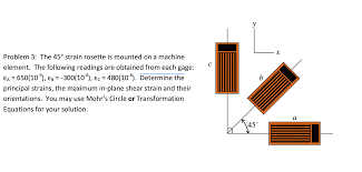 show transcribed image text problem 3 the 45 degree strain rosette is mounted on a machine element the following readings are obtained from each gage