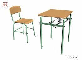 school desk and chair top view. student school desk and chair wooden top metal frame view