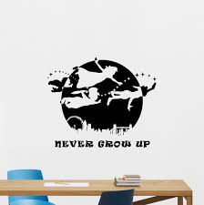 Peter Pan Quote Wall Decal Never Grow Up Walt Disney Lettering