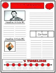 Newspaper Article Template Worksheets Biography Book Report Template Newspaper Templates Printable
