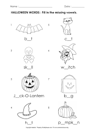 Free Halloween Worksheets : Fill in the missing vowels ...
