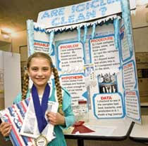 environmental science projects science tracer bullet photo girl before her are icicles clean display board winning projects at the 2009 school science fair