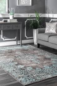 details about nuloom traditional vintage distressed corene area rug in gray and aqua blue