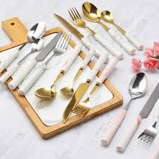 <b>4pcs Stainless Steel</b> Gold Set <b>Dinnerware</b> Set Korea Food <b>Dinner</b> ...