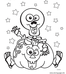 Small Picture halloween Skeleton Pumpkin Coloring pages Printable