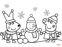 Small Picture Peppa and Rebecca are Making Snowman coloring page Free