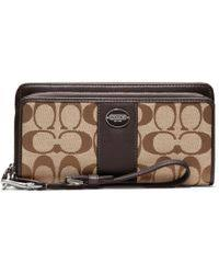 ... Pink Lyst COACH Legacy Signature Double Zip Accordion Wallet Lyst ...