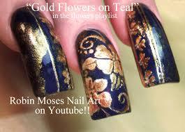 Gold Flower Filigree Nail Art for Long nails DIVA Lush Design ...