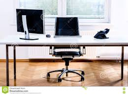 office space computer. Interesting Office Download Modern Empty Office Space Desk With Computer Phone And Chair  Stock Photo  Computer A