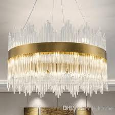 post modern led pendant lamps crystal glass chandeliers new design ellipse round creative pendant lights restaurant villa duplex hotel hall multi light