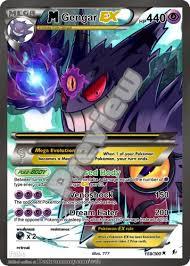 Gengar has two red eyes and a toothy, sinister smile. Mega M Gengar Ex Gx Pokemon Orica Proxy Card Pokemon Customproxiescards On Artfire