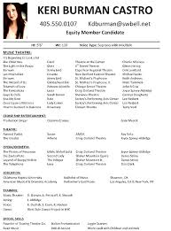 Ideas Collection Sample Musical Theatre Resume For Form