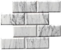 carrara carrera bianco honed 3x6 beveled mesh mosaic marble tile 24