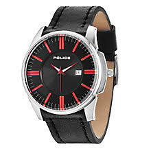 police watches men s ladies police watches h samuel police men s red black leather strap watch product number 2831880