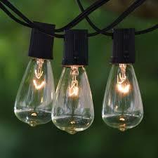 Solar Powered Retro Style String Light Bulbs 100 Ft Black C9 String Light With Vintage Edison Clear Bulbs