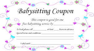 babysitting schedule template babysitter gift voucher gift ideas
