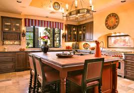 It is better to choose saturated colors such as orange kitchen cabinets,  light gold walls, white kitchen island, dark blue island surface are able  to create ...