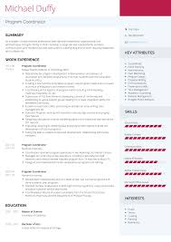 Education Coordinator Resumes Program Coordinator Resume Samples And Templates Visualcv