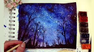 night sky sd painting watercolor gouache