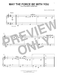 May The Force Be With You piano sheet music by John Williams - Easy Piano
