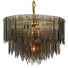 polished brass smoked spear glass chandelier